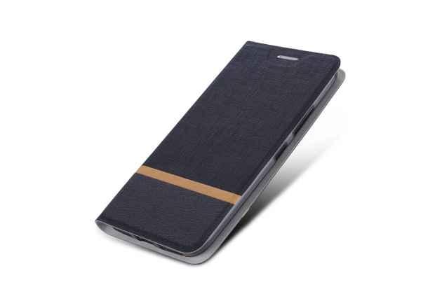 Фирменный чехол-книжка водоотталкивающий с мульти-подставкой на жёсткой металлической основе для Motorola Moto G4  черный из настоящей джинсы