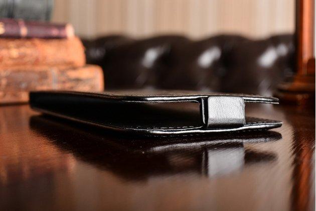 Фирменный оригинальный вертикальный откидной чехол-флип для HTC Bolt/HTC Desire 10/ Desire 10 Lifestylle  черный из натуральной кожи Prestige Италия