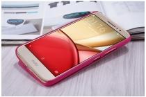 Фирменный оригинальный чехол-книжка для Motorola Moto M (XT1662) 5.5 розовый с окошком для входящих вызовов водоотталкивающий