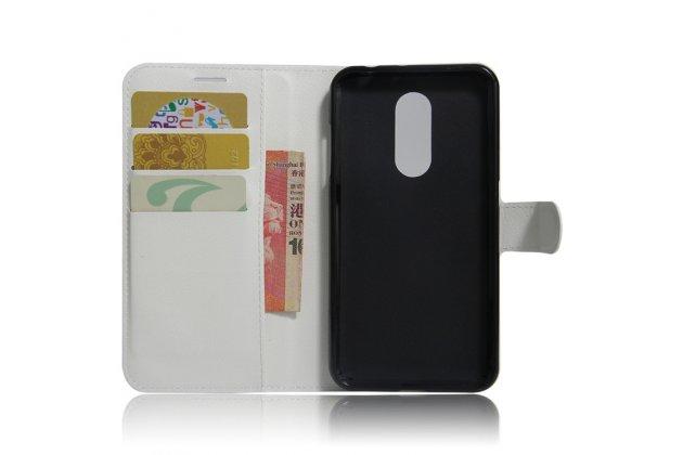 Фирменный чехол-книжка из качественной импортной кожи с подставкой застёжкой и визитницей для Motorola Moto M (XT1662) 5.5 белый
