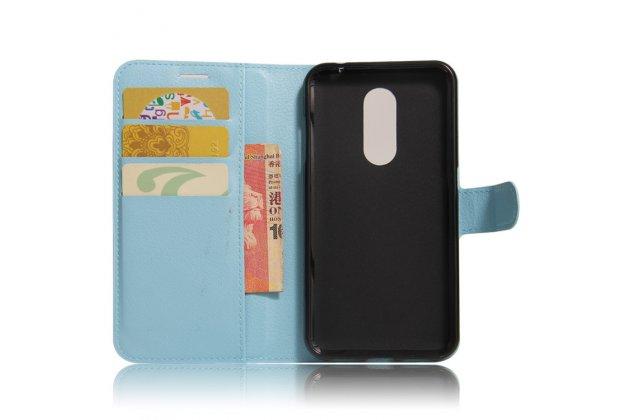 Фирменный чехол-книжка из качественной импортной кожи с подставкой застёжкой и визитницей для Motorola Moto M (XT1662) 5.5 голубой