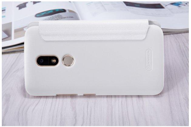 Фирменный оригинальный чехол-книжка для Motorola Moto M (XT1662) 5.5 белый с окошком для входящих вызовов водоотталкивающий
