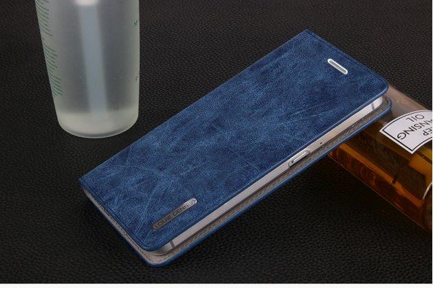 """Фирменный премиальный элитный чехол-книжка из качественной импортной кожи для Motorola Moto M (XT1662) 5.5 """"Ретро под старину"""" синий"""