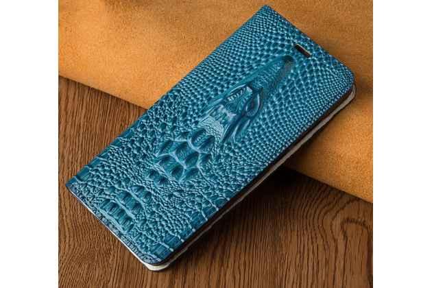 Фирменный роскошный эксклюзивный чехол с объёмным 3D изображением рельефа кожи крокодила бирюзовый для Motorola Moto Х Play (XT1635-03) 5.5 / Motorola Moto Z Play (XT1635-03-02) 5.5. Только в нашем магазине. Количество ограничено