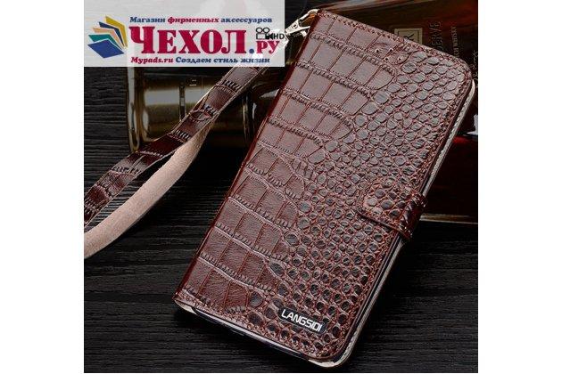 Фирменный роскошный эксклюзивный чехол с объёмным 3D изображением кожи крокодила коричневый для Motorola Moto Х Play (XT1635-03) 5.5 / Motorola Moto Z Play (XT1635-03-02) 5.5. Только в нашем магазине. Количество ограничено