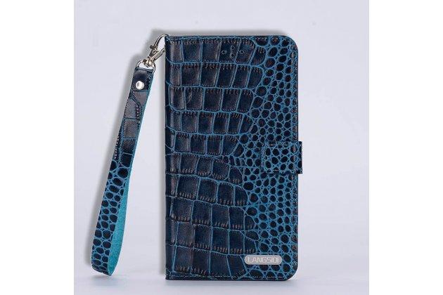 Фирменный роскошный эксклюзивный чехол с объёмным 3D изображением кожи крокодила синий для Moto Х Play (XT1635-03) 5.5 / Motorola Moto Z Play (XT1635-03-02) 5.5. Только в нашем магазине. Количество ограничено