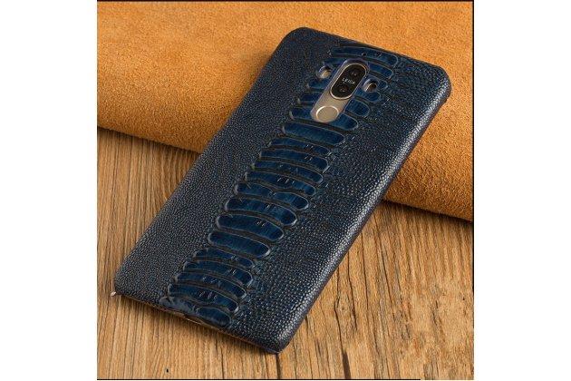 Фирменная роскошная элитная премиальная задняя панель-крышка на пластиковой основе обтянутая фактурной кожей крокодила для Motorola Moto Х Play (XT1635-03) 5.5 / Motorola Moto Z Play (XT1635-03-02) 5.5 синяя