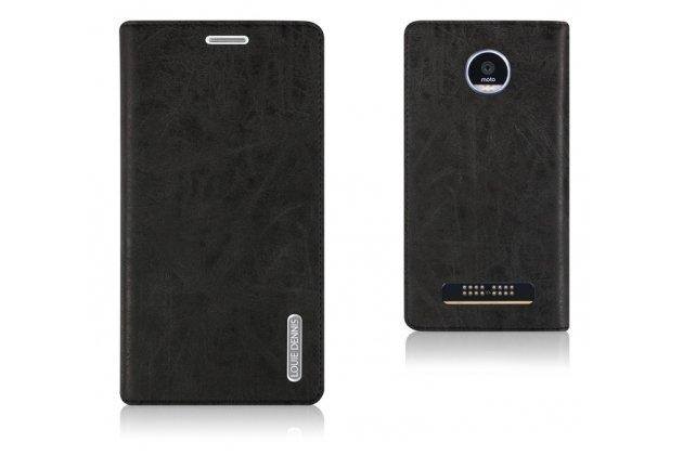 Фирменный чехол-книжка из качественной импортной кожи с мульти-подставкой и визитницей для Moto Х Play (XT1635-03) 5.5 / Motorola Moto Z Play (XT1635-03-02) 5.5 черный