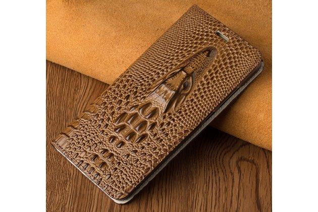 Фирменный роскошный эксклюзивный чехол с объёмным 3D изображением рельефа кожи крокодила коричневый для Motorola Moto Х Play (XT1635-03) 5.5 / Motorola Moto Z Play (XT1635-03-02) 5.5. Только в нашем магазине. Количество ограничено