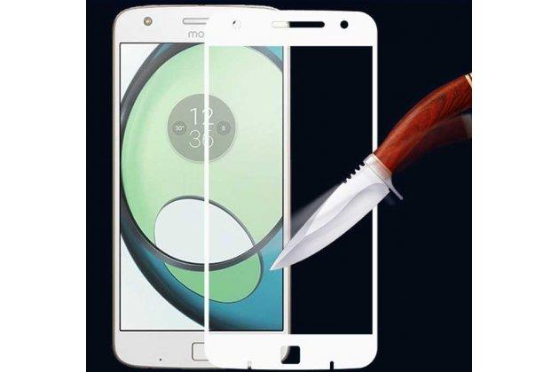 Фирменное 3D защитное изогнутое стекло с закругленными изогнутыми краями которое полностью закрывает экран / дисплей по краям с олеофобным покрытием для Moto Х Play (XT1635-03) 5.5 / Motorola Moto Z Play (XT1635-03-02) 5.5