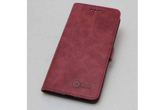 Фирменный чехол-книжка из качественной импортной кожи с застёжкой и мультиподставкой для Moto Х Play (XT1635-03) 5.5 / Motorola Moto Z Play (XT1635-03-02) 5.5 бордовый