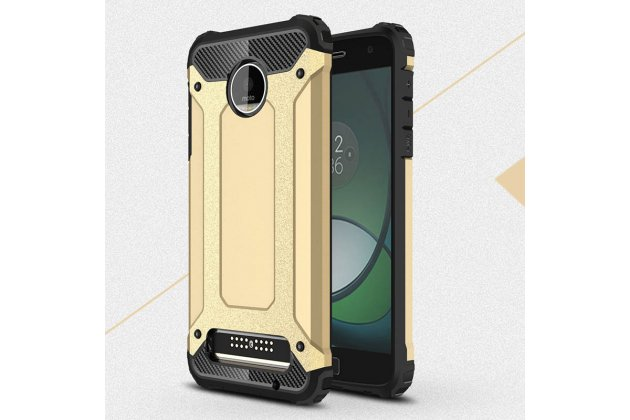 Противоударный усиленный ударопрочный фирменный чехол-бампер-пенал для Moto Х Play (XT1635-03) 5.5 / Motorola Moto Z Play (XT1635-03-02) 5.5 золотой