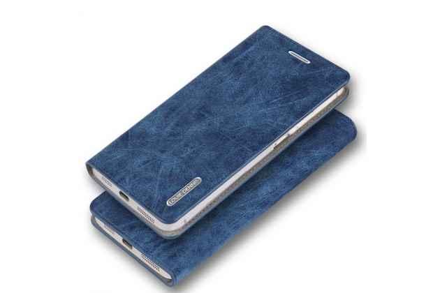 Фирменный чехол-книжка из качественной импортной кожи с мульти-подставкой и визитницей для Moto Х Play (XT1635-03) 5.5 / Motorola Moto Z Play (XT1635-03-02) 5.5 синий