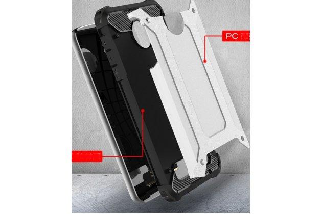 Противоударный усиленный ударопрочный фирменный чехол-бампер-пенал для Moto Х Play (XT1635-03) 5.5 / Motorola Moto Z Play (XT1635-03-02) 5.5 серебристый