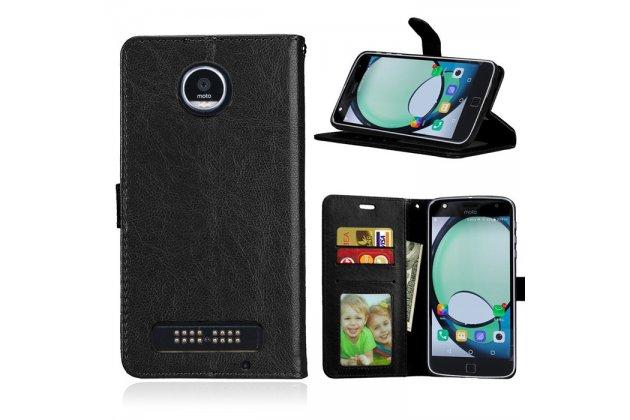 Фирменный чехол-книжка из качественной импортной кожи с подставкой застёжкой и визитницей для Motorola Moto Х Play (XT1635-03) 5.5 / Motorola Moto Z Play (XT1635-03-02) 5.5 черный
