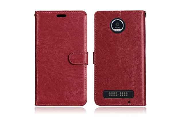 Фирменный чехол-книжка из качественной импортной кожи с подставкой застёжкой и визитницей для Motorola Moto Х Play (XT1635-03) 5.5 / Motorola Moto Z Play (XT1635-03-02) 5.5 бордовый