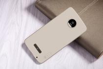Фирменная задняя панель-крышка-накладка из тончайшего и прочного пластика для Motorola Moto Z золотая