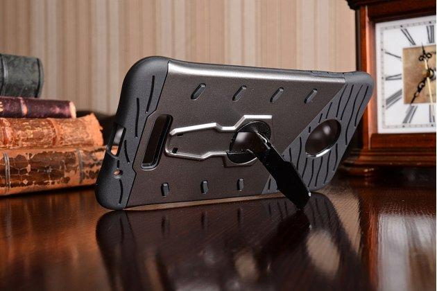 Противоударный усиленный ударопрочный фирменный чехол-бампер-пенал для Motorola Moto Z серый