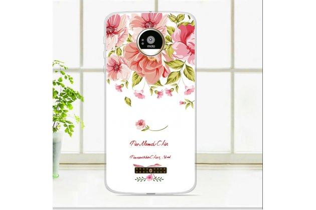 Фирменная роскошная задняя панель-чехол-накладка из мягкого силикона с объемным  3D изображением  на Motorola Moto Z c с безумно красивым рисунком  Тематика Королевские Розы