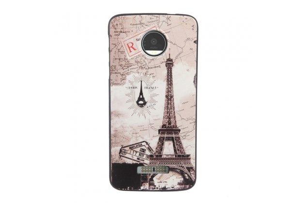 Фирменная роскошная задняя панель-чехол-накладка из мягкого силикона с объемным  3D изображением  на Motorola Moto Z c с безумно красивым рисунком Тематика Париж