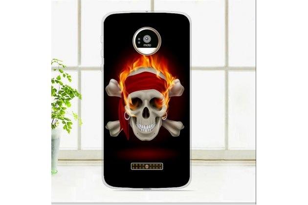 Фирменная роскошная задняя панель-чехол-накладка из мягкого силикона с объемным  3D изображением  на Motorola Moto Z c с безумно красивым рисунком Тематика Пираты Карибского Моря