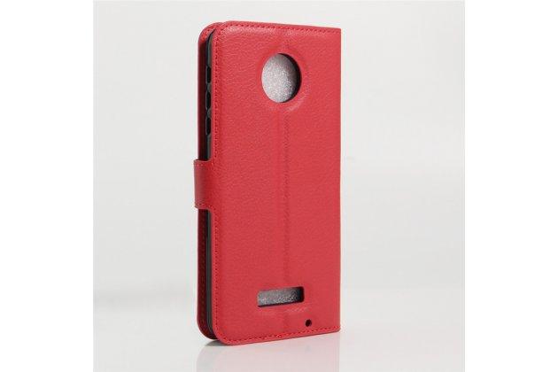 Фирменный чехол-книжка из качественной импортной кожи с подставкой застёжкой и визитницей для Motorola Moto Z красный