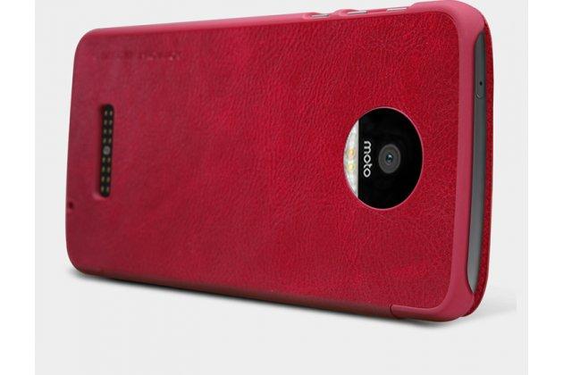 Фирменный премиальный элитный чехол-книжка из качественной импортной кожи с мульти-подставкой и визитницей для Motorola Moto Z Ретро красный