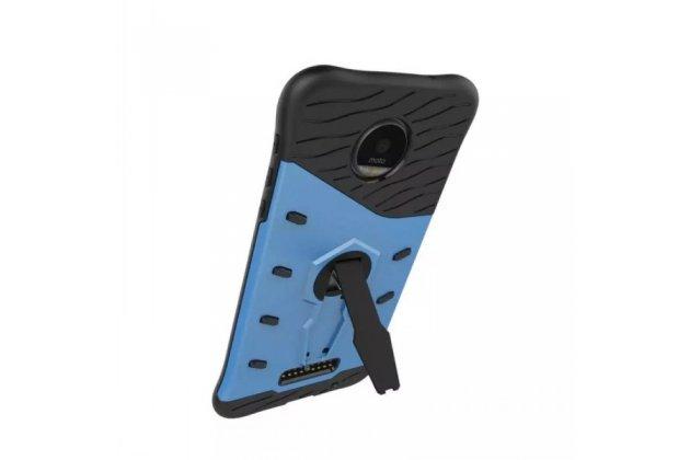Противоударный усиленный ударопрочный фирменный чехол-бампер-пенал для Motorola Moto Z синий