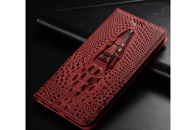 Фирменный роскошный эксклюзивный чехол с объёмным 3D изображением кожи крокодила цвет красное вино для Huawei P9 Lite Mini / Huawei Y6 Pro (2017) / Huawei Enjoy 7  Только в нашем магазине. Количество ограничено