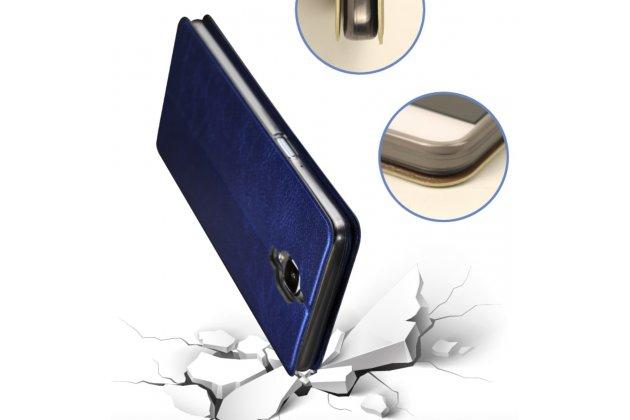 """Фирменный чехол-книжка водоотталкивающий с мульти-подставкой на жёсткой металлической основе для OnePlus 3T A3010/ OnePlus 3 A3000 / A3003""""  синий"""