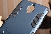 Противоударный усиленный ударопрочный фирменный чехол-бампер-пенал для OnePlus 3T A3010/ OnePlus 3 A3000 / A3003 черный