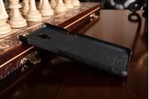 """Фирменная премиальная элитная крышка-накладка из тончайшего прочного пластика и качественной импортной кожи для OnePlus 3T A3010/ OnePlus 3 A3000 / A3003"""" черная"""