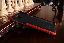 """Фирменная премиальная элитная крышка-накладка из тончайшего прочного пластика и качественной импортной кожи для OnePlus 3T A3010/ OnePlus 3 A3000 / A3003"""" красная"""