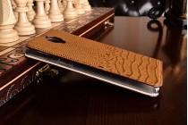 """Фирменный роскошный эксклюзивный чехол с объёмным 3D изображением кожи крокодила коричневый для OnePlus 3T A3010/ OnePlus 3 A3000 / A3003"""" . Только в нашем магазине. Количество ограничено"""