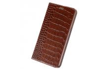 """Фирменный роскошный эксклюзивный чехол из лаковой кожи крокодила коричневый для OnePlus 3T A3010/ OnePlus 3 A3000 / A3003"""""""