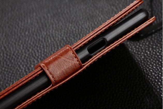 Фирменный чехол-книжка из качественной импортной кожи с подставкой застёжкой и визитницей для OPPO F3 коричневый