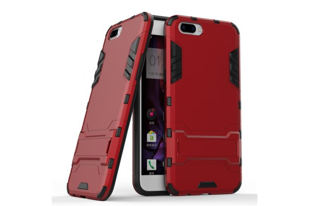 Противоударный усиленный ударопрочный фирменный чехол-бампер-пенал из прочного пластика для OPPO F3 красный