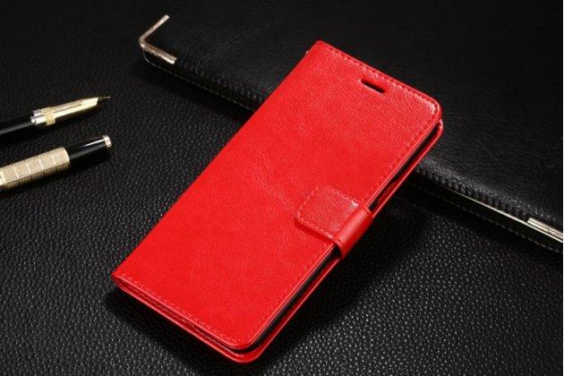 Фирменный чехол-книжка из качественной импортной кожи с подставкой застёжкой и визитницей для OPPO F3 красный