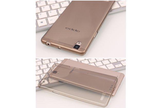 Фирменная ультра-тонкая полимерная из мягкого качественного силикона задняя панель-чехол-накладка для OPPO F3 коричневая