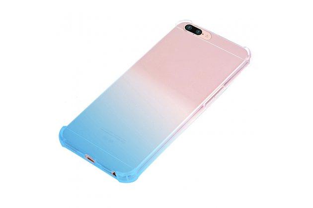 Фирменная ультра-тонкая полимерная из мягкого качественного силикона задняя панель-чехол-накладка с защитой углов для OPPO F3 градиент голубая