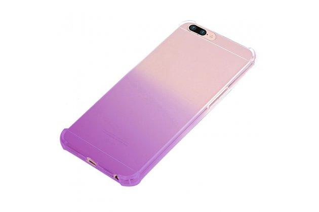 Фирменная ультра-тонкая полимерная из мягкого качественного силикона задняя панель-чехол-накладка с защитой углов для OPPO F3 градиент фиолетовая