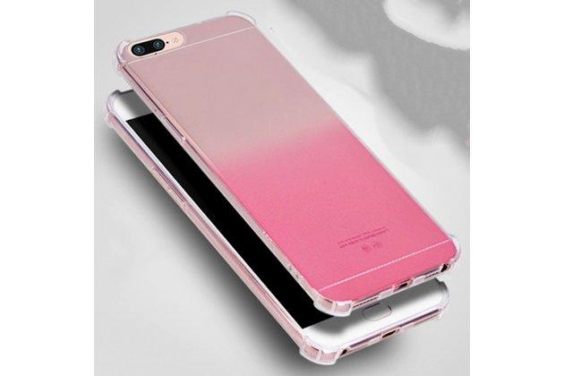 Фирменная ультра-тонкая полимерная из мягкого качественного силикона задняя панель-чехол-накладка с защитой углов для OPPO F3 градиент розовая