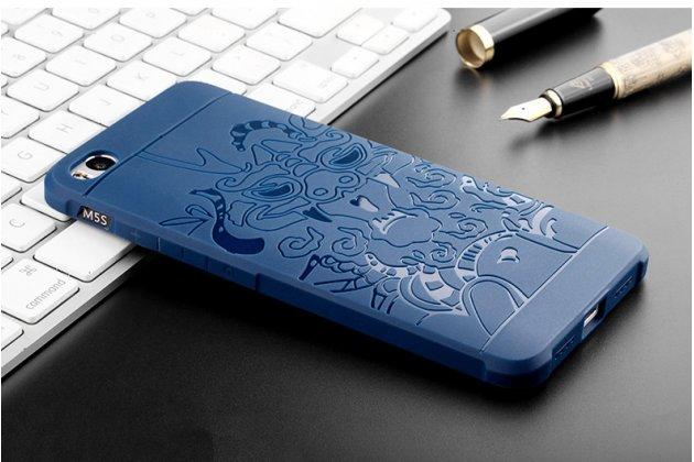 """Фирменная роскошная задняя панель-чехол-накладка из мягкого силикона с объемным 3D изображением на OPPO F3 тематика """"Дракон"""" синяя"""