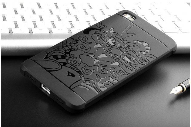 """Фирменная роскошная задняя панель-чехол-накладка из мягкого силикона с объемным 3D изображением на OPPO F3 тематика """"Дракон"""" черная"""