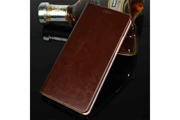 Фирменный чехол-книжка из качественной импортной кожи с мульти-подставкой и визитницей для Oppo R11s Plus коричневый