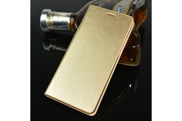Фирменный чехол-книжка из качественной импортной кожи с мульти-подставкой и визитницей для Oppo R11s Plus золотой