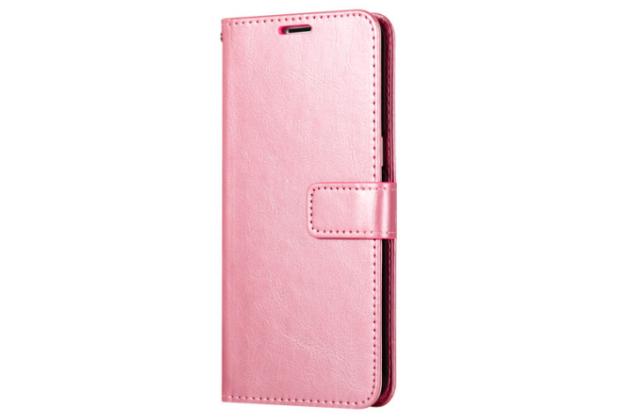 Фирменный чехол-книжка из качественной импортной кожи с подставкой застёжкой и визитницей для Oppo R11s Plus розовое золото