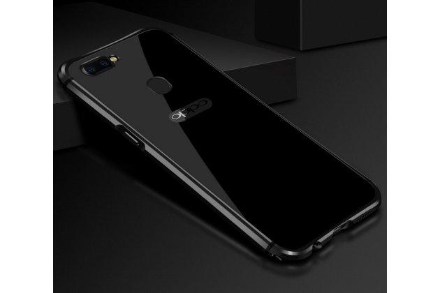 Фирменная металлическая задняя панель-крышка-накладка из тончайшего облегченного авиационного алюминия для Oppo R11s Plus черная