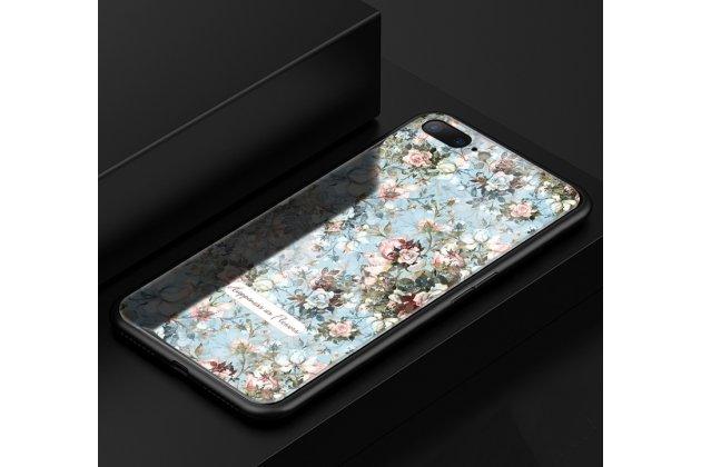 """Фирменная роскошная задняя панель-чехол-накладка из мягкого силикона с изображением на Oppo R11s Plus с безумно красивым рисунком """"Цветы"""" голубая"""