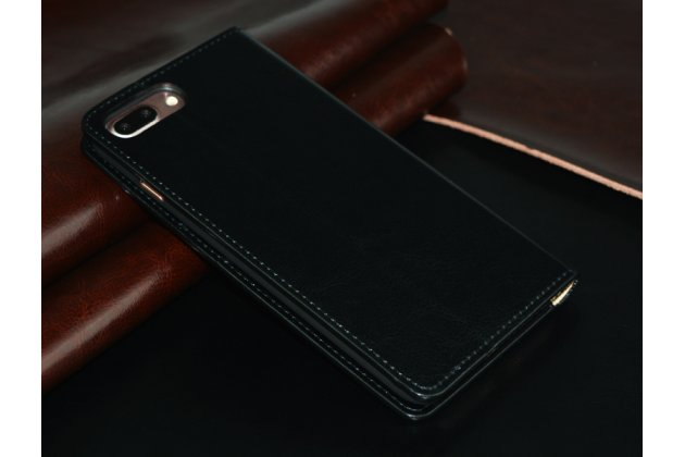 Фирменный чехол-книжка из качественной импортной кожи с мульти-подставкой и визитницей для Oppo R11s Plus черный